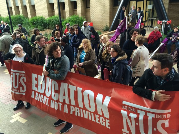 Protestors disrupted Christopher Pyne's La Trobe University..