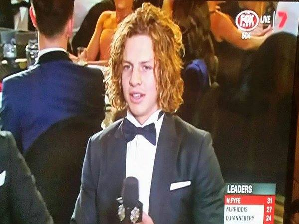 Nat Fyfe polls 31 votes to become Fremantle's first Brownlow..