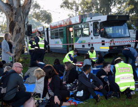 Truck and tram collision in Parkville