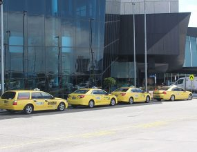 Taxis drivers revolt against airport Ubers.
