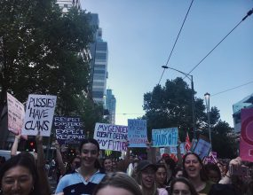 Demonstrators gathered in Melbourne's CBD for International..