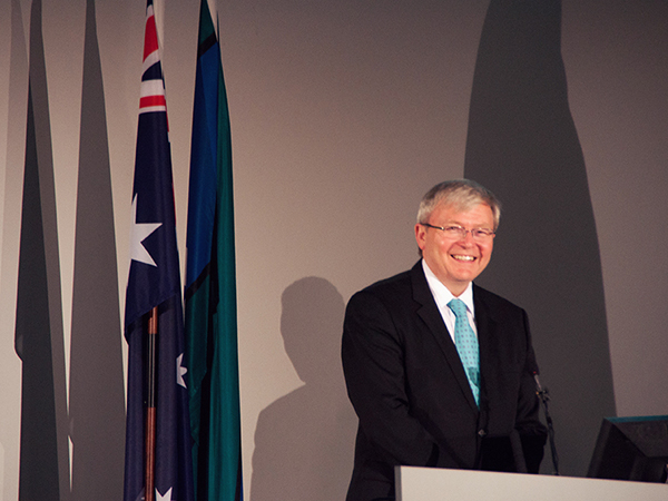 Former Prime Minister Kevin Rudd spoke at La Trobe University..
