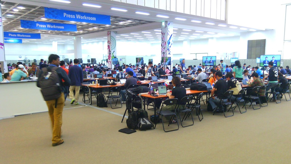 Inside the Main Press Centre at the 2014 Asian Games