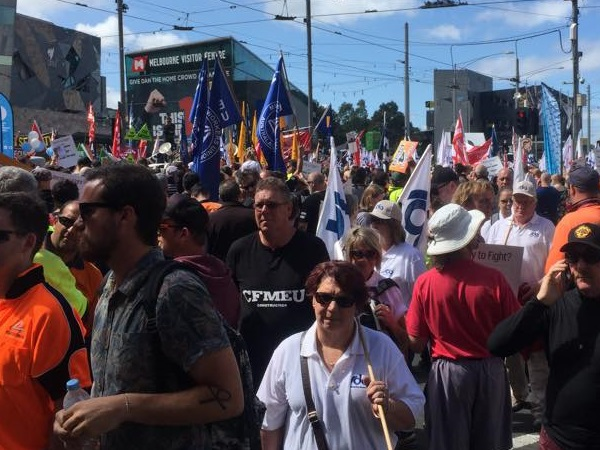 City stops for rally against Abbott government