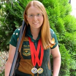 Emma Cox dons the Australian Team shooting jacket she earned
