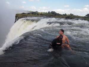 Simon, enjoying time away from footy at Victoria Falls