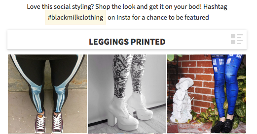 Black Milk Clothing strongly encourages customers to post photos to social media