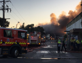 Recycling plant up in flames