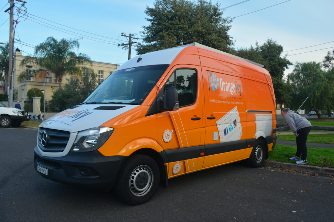 Orange Sky Laundry's mobile shower van.