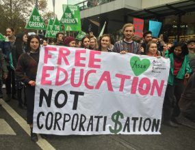 Students protest uni funding changes.